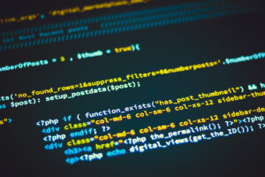 Custom WordPress theme code displayed on a screen