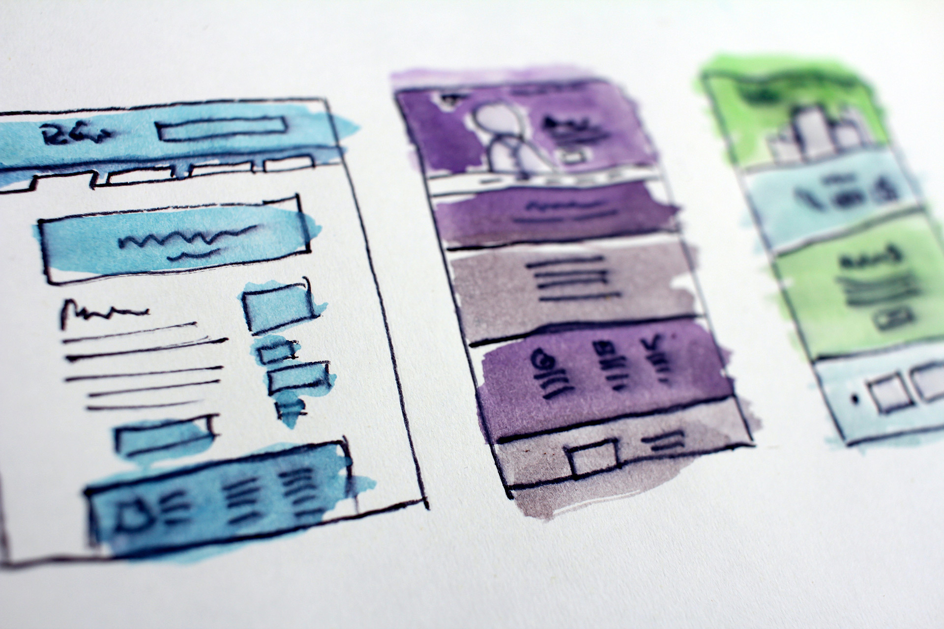 Wordpress theme layouts sketched on paper
